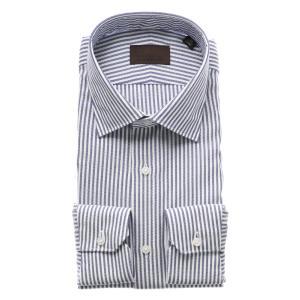 ドレスシャツ/長袖/メンズ/ICE COTTON/ワイドカラードレスシャツ ストライプ×織柄 ネイビー×ホワイト|uktsc