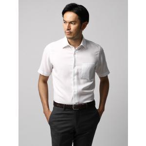 ドレスシャツ/長袖/メンズ/半袖・ICE COTTON/ワイドカラードレスシャツ 織柄 ホワイト|uktsc