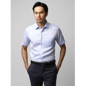 ドレスシャツ/長袖/メンズ/半袖・ICE COTTON/ワイドカラードレスシャツ 織柄 サックスブルー×ホワイト|uktsc