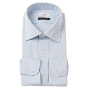 ドレスシャツ/長袖/メンズ/ワイドカラードレスシャツ 織柄 サックスブルー×ホワイト uktsc