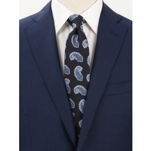 ネクタイ/レギュラータイ/メンズ/ペイズリー×織柄ネクタイ ネイビー×サックスブルー×ブルー|uktsc