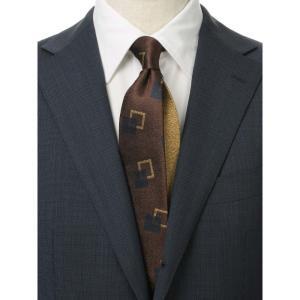 ネクタイ/レギュラータイ/メンズ/ジオメトリック×織柄クレリックネクタイ ブラウン系|uktsc
