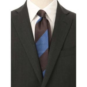 ネクタイ/レギュラータイ/メンズ/ストライプ×織柄 クレリックネクタイ ブルー系 uktsc