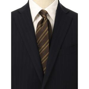 ネクタイ/レギュラータイ/メンズ/ストライプ×織柄 クレリックネクタイ ブラウン系 uktsc