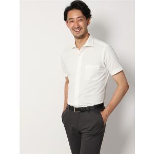 ドレスシャツ/半袖/メンズ/半袖・ノンアイロンジャージー素材/WE SUIT YOU/ホリゾンタルカラードレスシャツ 織柄 ホワイト|uktsc