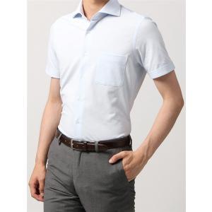 ドレスシャツ/半袖/メンズ/半袖・ノンアイロンジャージー素材/WE SUIT YOU/ホリゾンタルカラードレスシャツ 織柄 サックスブルー|uktsc