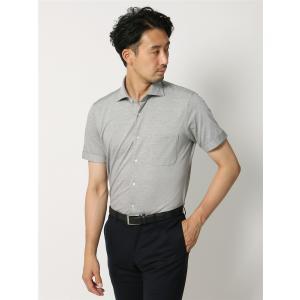 ドレスシャツ/半袖/メンズ/半袖・ノンアイロンジャージー素材/WE SUIT YOU/ホリゾンタルカラードレスシャツ 織柄 ミディアムグレー×ホワイト|uktsc