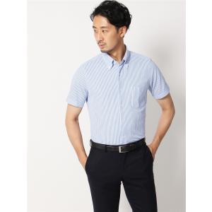 ドレスシャツ/半袖/メンズ/半袖・ノンアイロンジャージー素材/WE SUIT YOU/ボタンダウンカラードレスシャツ ブルー×ホワイト|uktsc