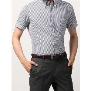 ドレスシャツ/半袖/メンズ/半袖・ノンアイロンジャージー素材/WE SUIT YOU/ボタンダウンカラードレスシャツ ネイビー×ホワイト|uktsc