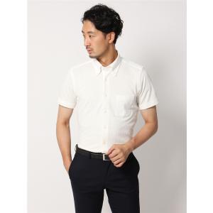 ドレスシャツ/半袖/メンズ/半袖・ノンアイロンジャージー素材/WE SUIT YOU/ボタンダウンカラードレスシャツ ホワイト|uktsc