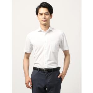 カジュアルシャツ/メンズ/ノンアイロンジャージー/WE SUIT YOU/シャドーストライプ柄ホリゾンタルカラーシャツ ホワイト|uktsc