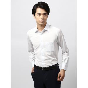 ドレスシャツ/長袖/メンズ/ノンアイロンジャージー素材/WE SUIT YOU/ワイドカラードレスシャツ 織柄 ホワイト×サックスブルー|uktsc