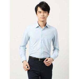 ドレスシャツ/長袖/メンズ/ノンアイロンジャージー素材/WE SUIT YOU/ワイドカラードレスシャツ サックスブルー×ホワイト|uktsc