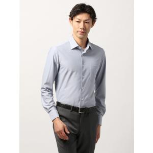 ドレスシャツ/長袖/メンズ/ノンアイロンジャージー素材/WE SUIT YOU/ホリゾンタルカラードレスシャツ 織柄 ネイビー×サックスブルー|uktsc