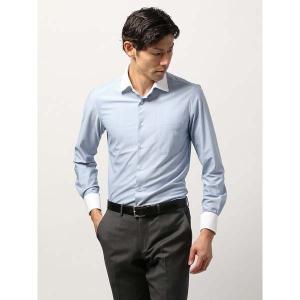 ドレスシャツ/長袖/メンズ/ノンアイロンジャージー素材/WE SUIT YOU/クレリック&ホリゾンタルカラードレスシャツ ブルー×ホワイト|uktsc