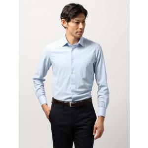 ドレスシャツ/長袖/メンズ/ノンアイロンジャージー素材/WE SUIT YOU/ホリゾンタルカラードレスシャツ ストライプ ブルー×ホワイト|uktsc