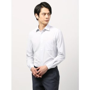 ドレスシャツ/長袖/メンズ/ノンアイロンジャージー素材/WE SUIT YOU/ホリゾンタルカラードレスシャツ 織柄 ホワイト×ネイビー|uktsc
