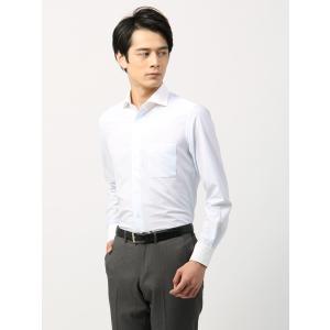 ドレスシャツ/長袖/メンズ/ノンアイロンジャージー素材/WE SUIT YOU/クレリック&ホリゾンタルカラードレスシャツ ホワイト×サックスブルー|uktsc