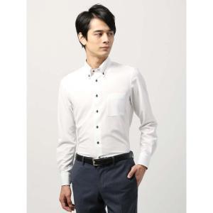 ドレスシャツ/長袖/メンズ/ノンアイロンジャージー素材/WE SUIT YOU/ボタンダウンカラードレスシャツ 織柄 ホワイト|uktsc