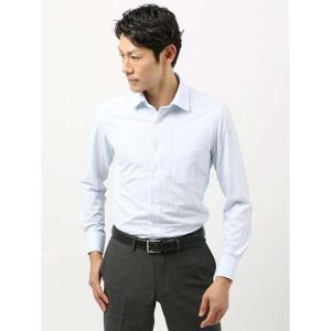 ドレスシャツ/長袖/メンズ/ノンアイロンジャージー素材/WE SUIT YOU/ワイドカラードレスシャツ ストライプ サックスブルー×ホワイト|uktsc