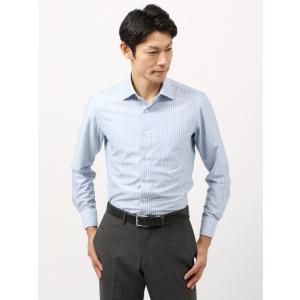 ドレスシャツ/長袖/メンズ/ノンアイロンジャージー素材/WE SUIT YOU/ワイドカラードレスシャツ ギンガムチェック ホワイト×ブルー|uktsc