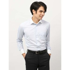 ドレスシャツ/長袖/メンズ/ノンアイロンジャージー素材/WE SUIT YOU/クレリック&ワイドカラードレスシャツ サックスブルー×ホワイト|uktsc