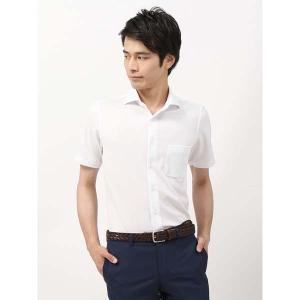 ドレスシャツ/半袖/メンズ/半袖・ノンアイロンジャージー素材/WE SUIT YOU/ホリゾンタルカラードレスシャツ 織柄 ホワイト uktsc