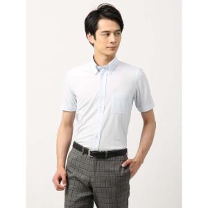 ドレスシャツ/半袖/メンズ/半袖・ノンアイロンジャージー素材/WE SUIT YOU/ボタンダウンカラードレスシャツ サックスブルー|uktsc
