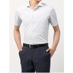 ドレスシャツ/半袖/メンズ/半袖・ノンアイロンジャージー/WE SUIT YOU/ホリゾンタルカラードレスシャツ ホワイト×ネイビー|uktsc