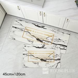 キッチンマット フロアマット エントランス 大理石 モノトーン 白黒 Fmat-0034-120