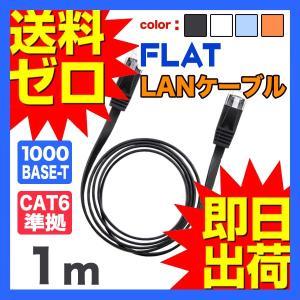 LANケーブル ランケーブル フラット 1m CAT6準拠 1年保証 ストレート ツメ折れ防止カバー...