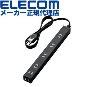 エレコム ELECOM 延長コード 電源タップ 1m 2P 6個口 すっきり配線 広間隔タイプ ほこり防止シャッター付 黒 T-NSL-2610BK エレコム T-NSL-2610BK ulmax