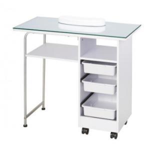 サロン向け ネイルテーブル リバース ホワイト 51531棚 キャスター ガラス|ulmax