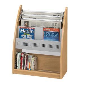 高級感のある木製曲線仕様。新聞3段、マガジン1段、単行本1段の新聞&雑誌&単行本架で...