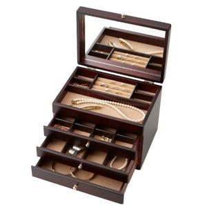 茶谷産業 日本製 Wooden Case 木製ジュエルケース(アクセサリーケース) 3ツ引 017-806ジュエリーケース アンティーク ネックレス|ulmax