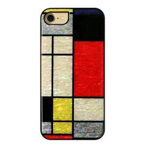 ikins iPhone8/7 天然貝ケース Mondrian ブラックフレーム|ulmax