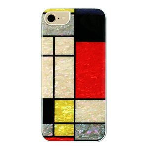 ikins iPhone8/7 天然貝ケース Mondrian ホワイトフレーム|ulmax
