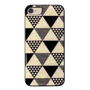 ikins iPhone8/7 天然貝ケース Pyramid ブラックフレーム ulmax