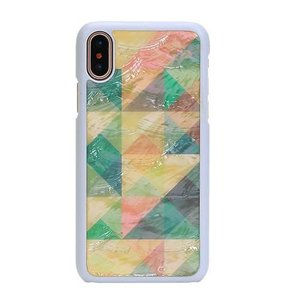 ikins iPhoneX 天然貝ケース Mosaic ホワイトフレーム ulmax