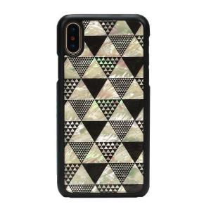 ikins iPhoneX 天然貝ケース Pyramid ブラックフレーム ulmax