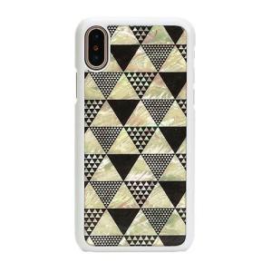 ikins iPhoneX 天然貝ケース Pyramid ホワイトフレーム ulmax