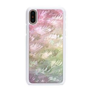 ikins iPhoneX 天然貝ケース Water flower ホワイトフレーム ulmax