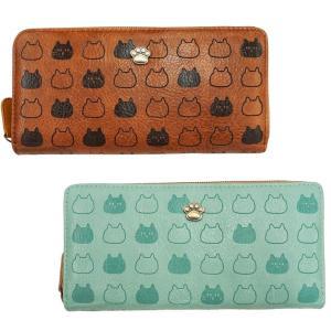 ほっこりにゃんこ柄 ラウンド長財布 A25-11かわいい 猫 女性 ulmax