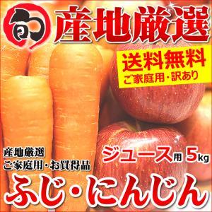 【12月中旬〜日時指定OK】訳あり サンふじりんご&無農薬にんじん 詰め合わせ 5kg(ご家庭用/ジュース・スムージー用) ultra-taste