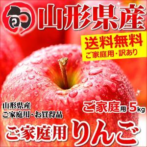 訳あり りんご サンふじ リンゴ ご家庭用 5kg 生食可 山形県産 人気 果物 フルーツ あすつく 山形県 送料無料 お取り寄せ