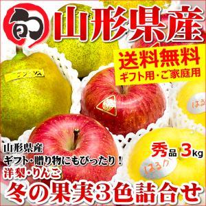 【11月上旬〜日時指定OK】冬ギフト 冬の果実3色詰め合わせ 3kg (秀品/8玉〜12玉入り/サンふじりんご&ラ・フランス&はるかorシナノゴールド)|ultra-taste