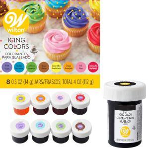 【送料無料】WILTON(ウィルトン)アイシングカラー 8カラーキット+ブラック セット/アイシング デコレーション ケーキデコ クッキー 水溶性 色付け 色素