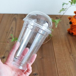 ポップコーンや綿菓子・綿あめ、かき氷にも使える トール型クリアカップとドーム型フタがセットになりまし...