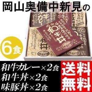 カレー レトルト セット 6食 ご当地 岡山県産 和牛カレー 和牛丼 味豚丼 送料無料 贈答品 お取り寄せ|umakore