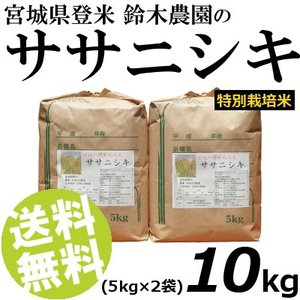 お米 10kg 白米 ササニシキ 宮城県登米産 精白米 特別栽培米 5kg×2袋 送料無料 贈答品 お取り寄せ|umakore